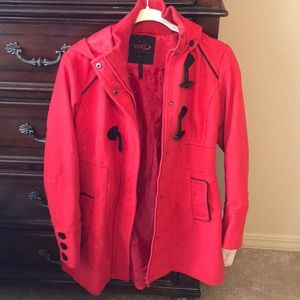 Women's red peacoat size M